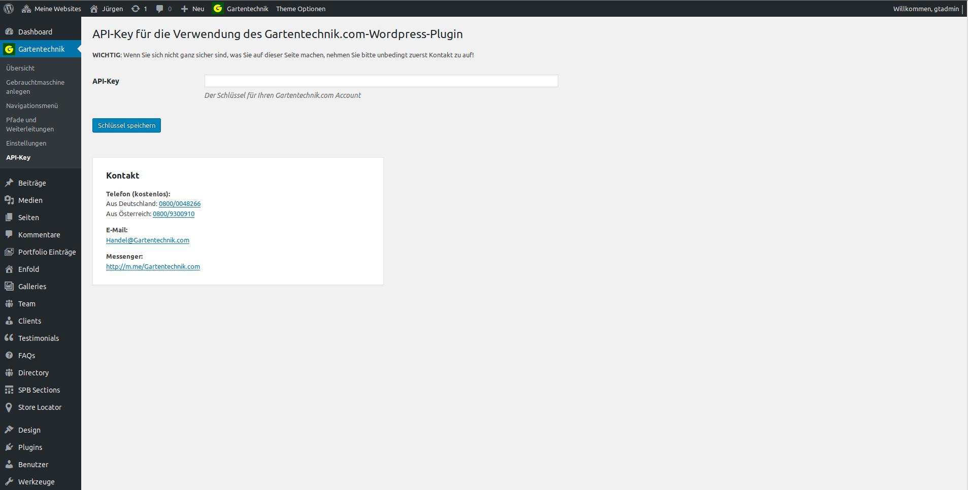 API-Key für das Gartentechnik.com-WordPress-Plugin: Hier wird initial der API-Key hinterlegt, um das Plugin nutzen zu können.