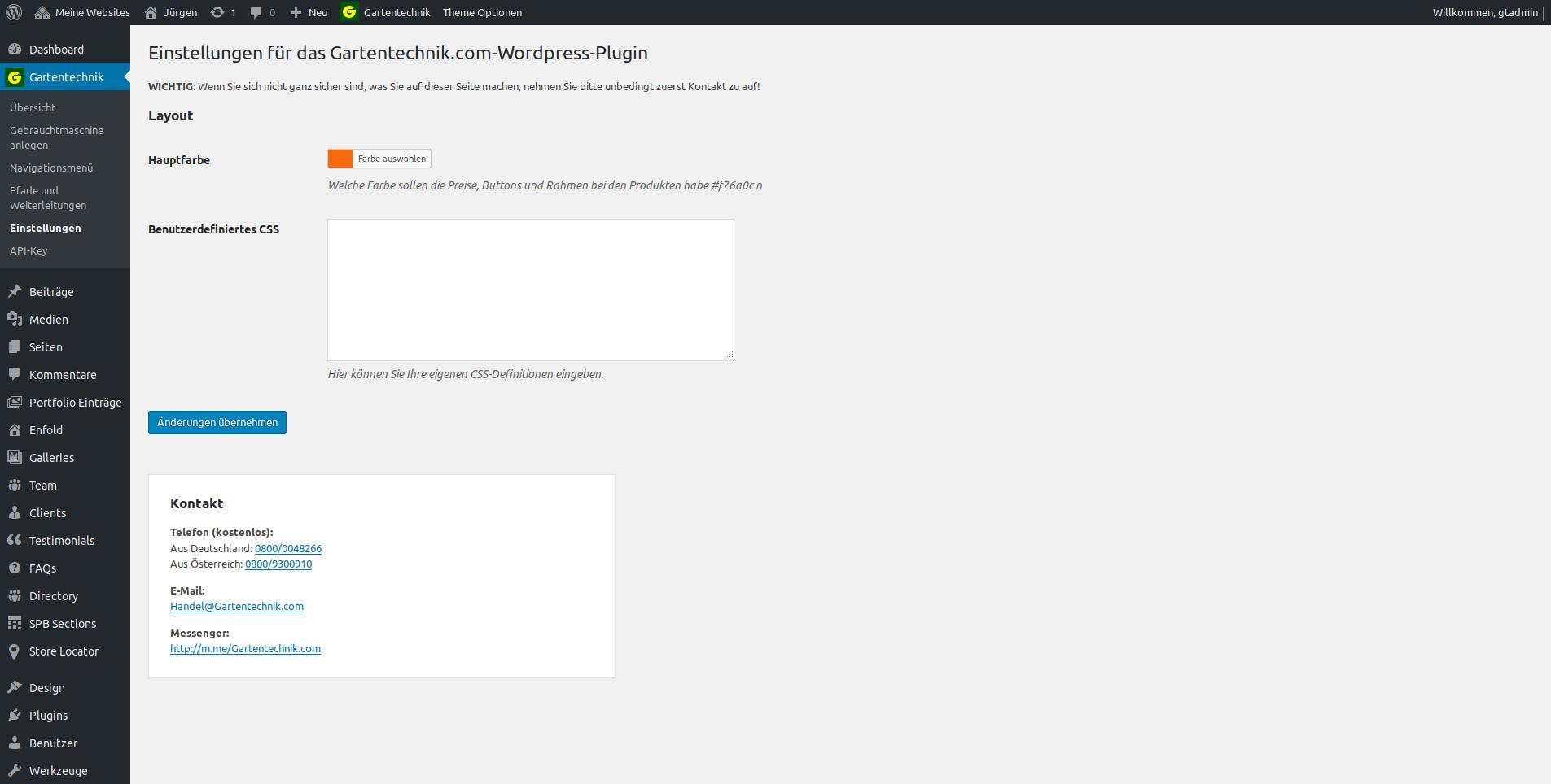 """Einstellungen für das Gartentechnik.com-WordPress-Plugin: In den Grundeinstellungen können aktuell die """"Primärfarbe"""" der Container (Produkdetailtseiten, Kategorieseiten) und benutzerdefiniertes CSS eingestellt werden."""