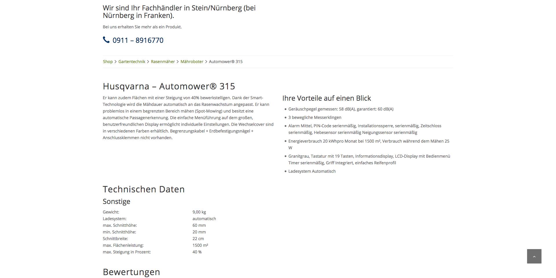Produktdetailseiten: Technische Infos werden selbstverständlich auf der Produktdetailseite abgebildet.