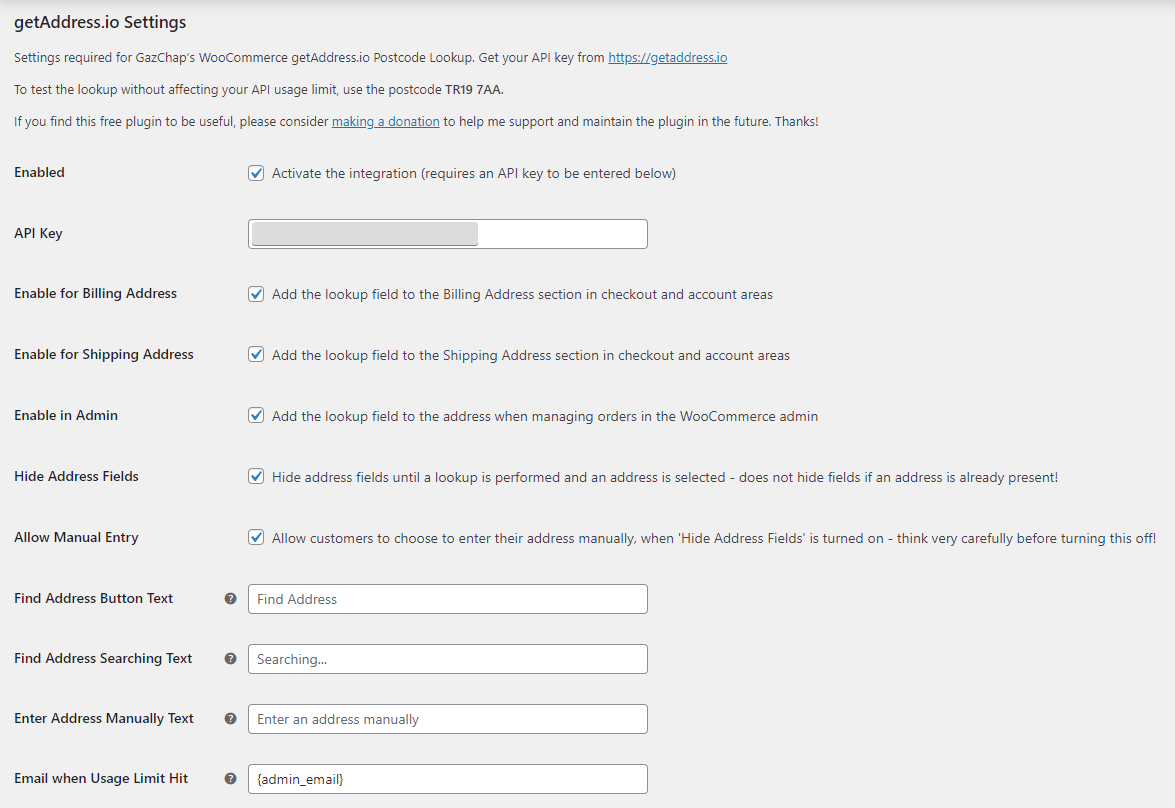 The administrator settings in the WooCommerce administration dashboard
