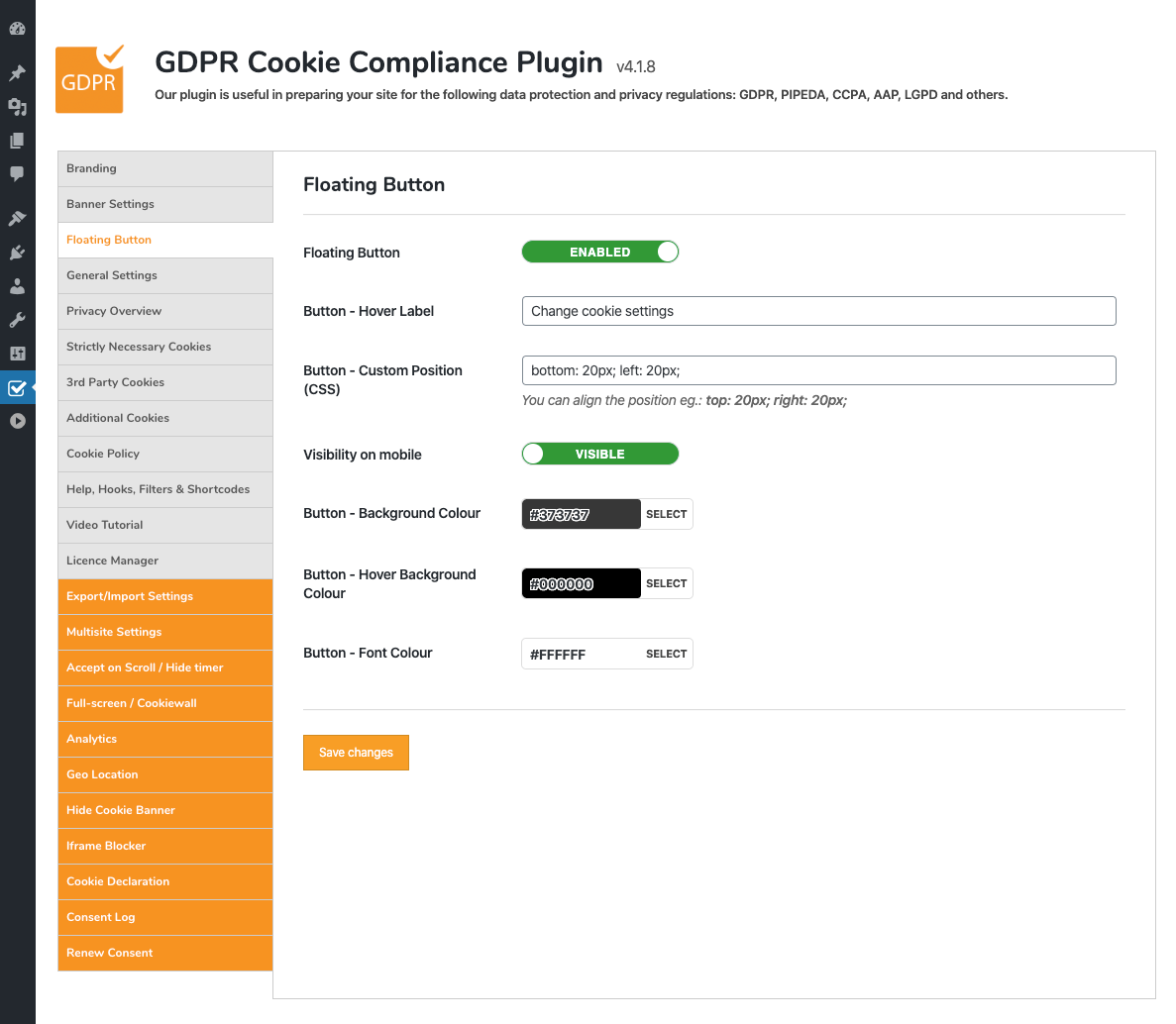 gdpr cookie compliance admin additional cookies
