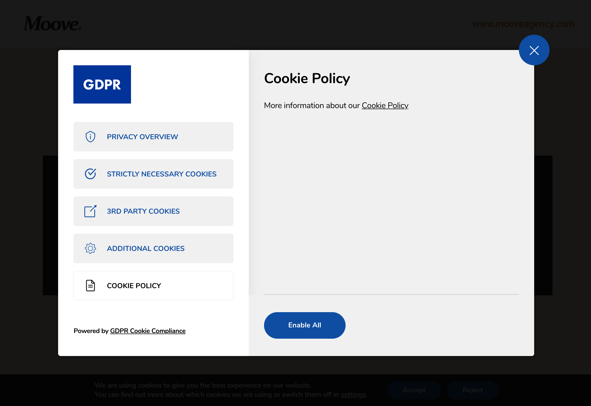 gdpr cookie compliance front end cookie policy