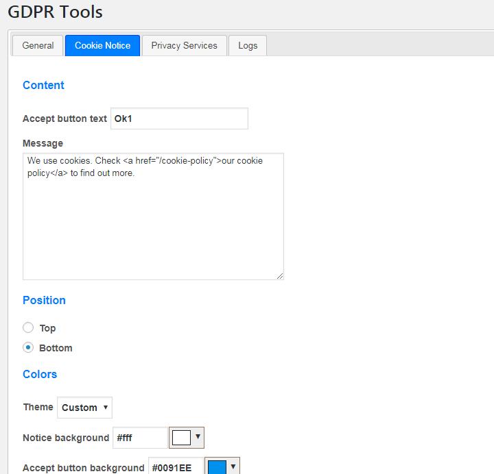 Configure cookie consent window