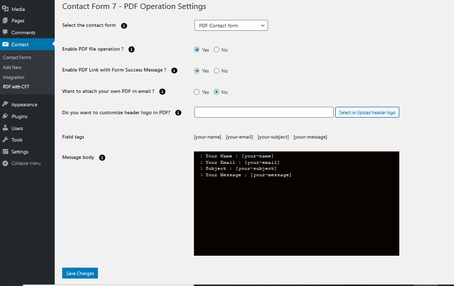 Screenshot 'screenshot-2.png' PDF settings of Customize PDF in Contact form.