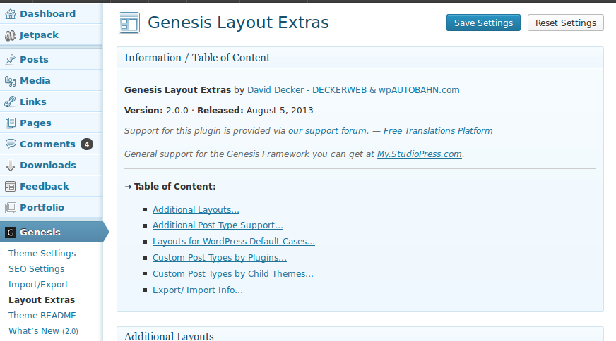 Genesis Layout Extras – Default Layouts in Genesis for