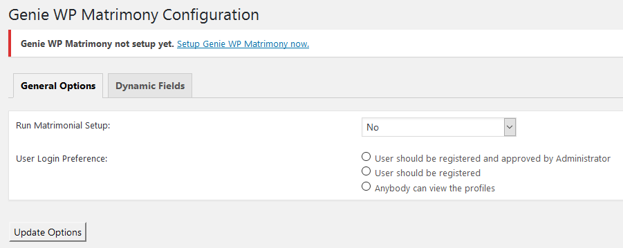 Setup: Go to Settings -> Genie WP Matrimony
