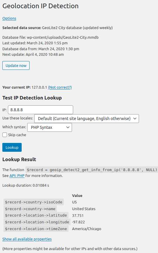 Lookup page (under Tools > GeoIP Lookup)