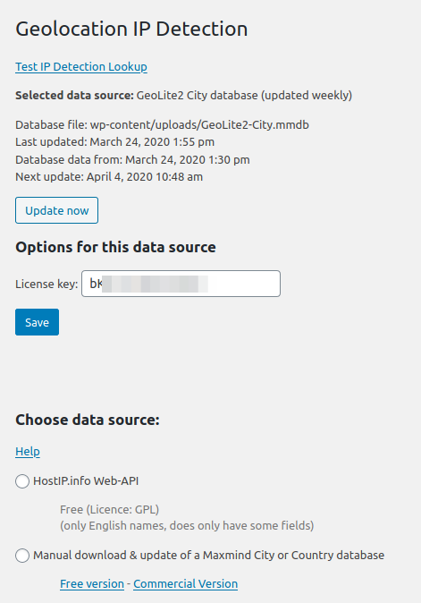 Options page (under Preferences > GeoIP Detection)