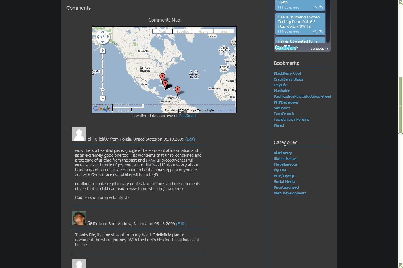 Post page with map and comment author location.
