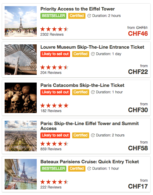 A listing of activities in Paris