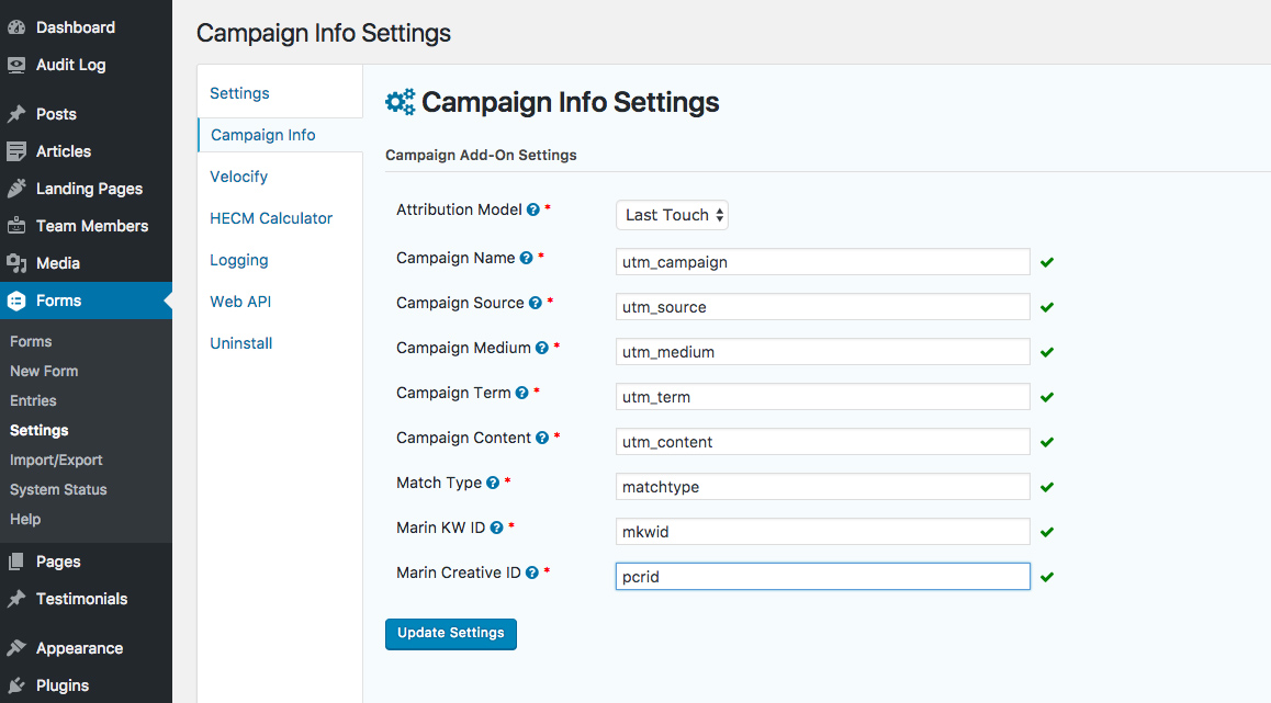 The settings screen where you define first/last touch attribution and the query string parameters used to define the values