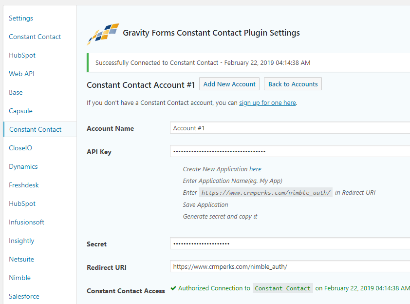 Connect Constant Contact Account.