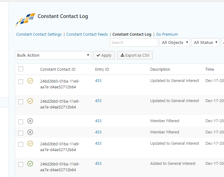 Constant Contact logs.