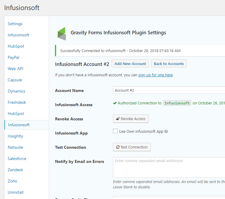 Connect your Infusionsoft Account to Gravity Forms.