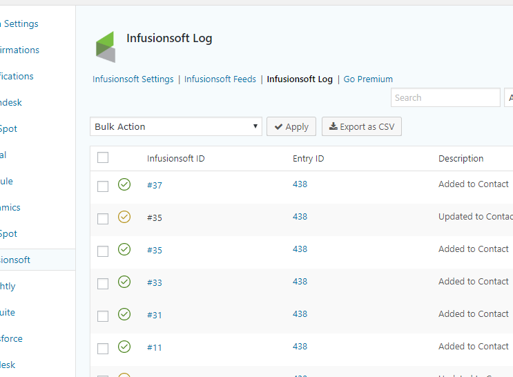 Gravity Forms Infusionsoft crm logs.