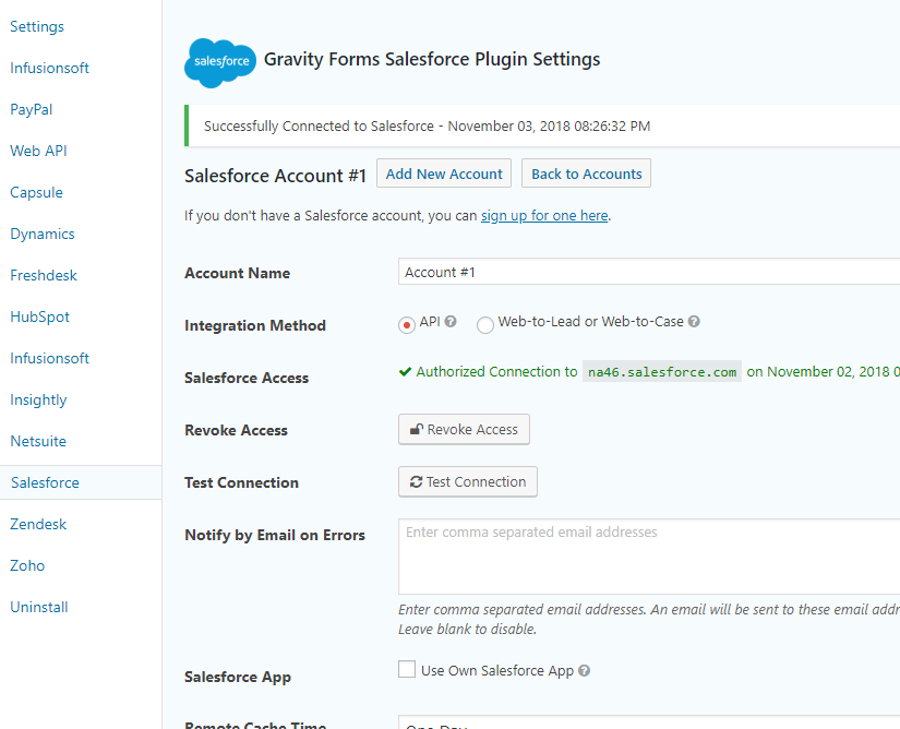 Gravity Forms Salesforce By CRM Perks Wordpress Plugin