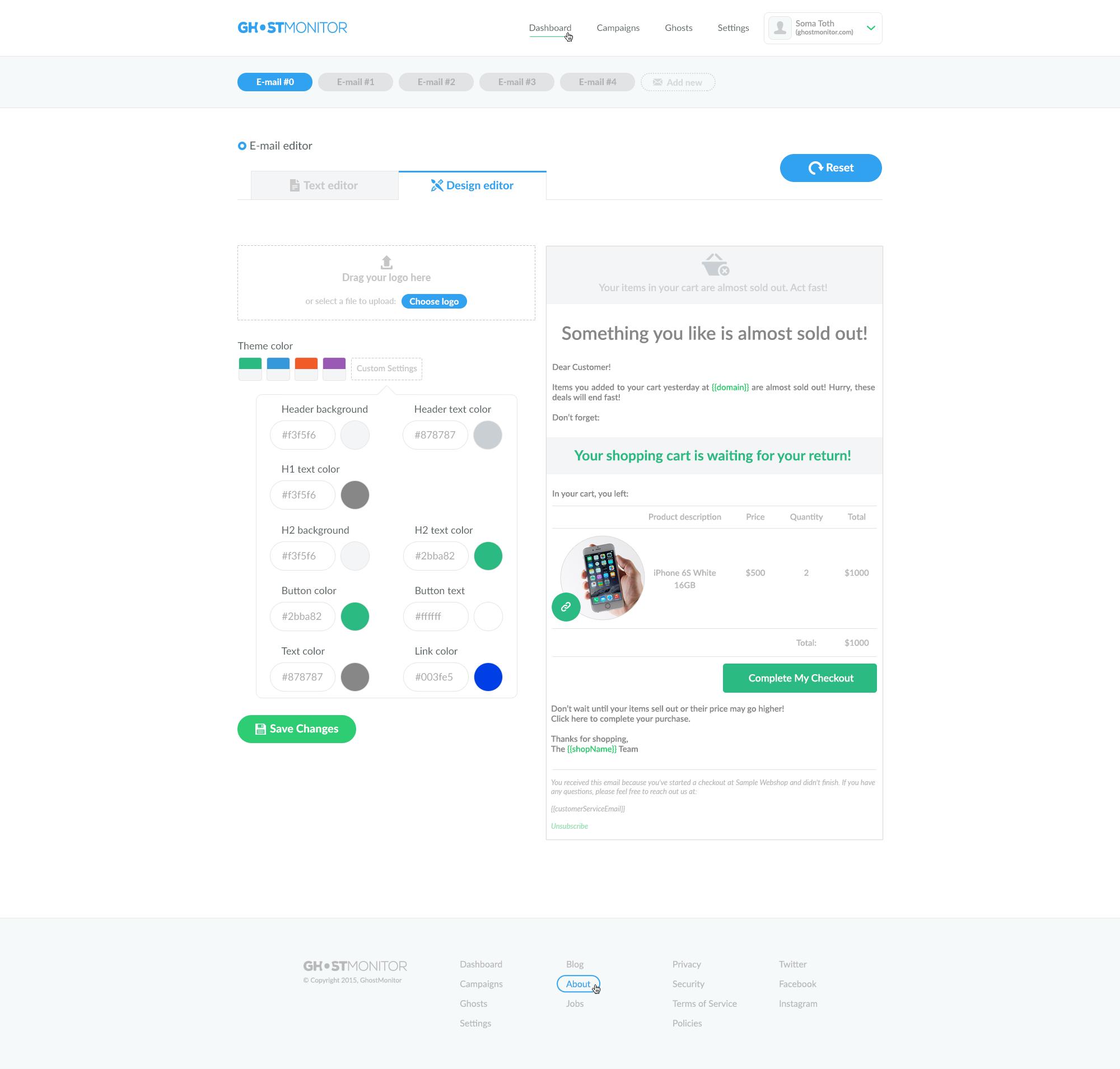 Email Editor design