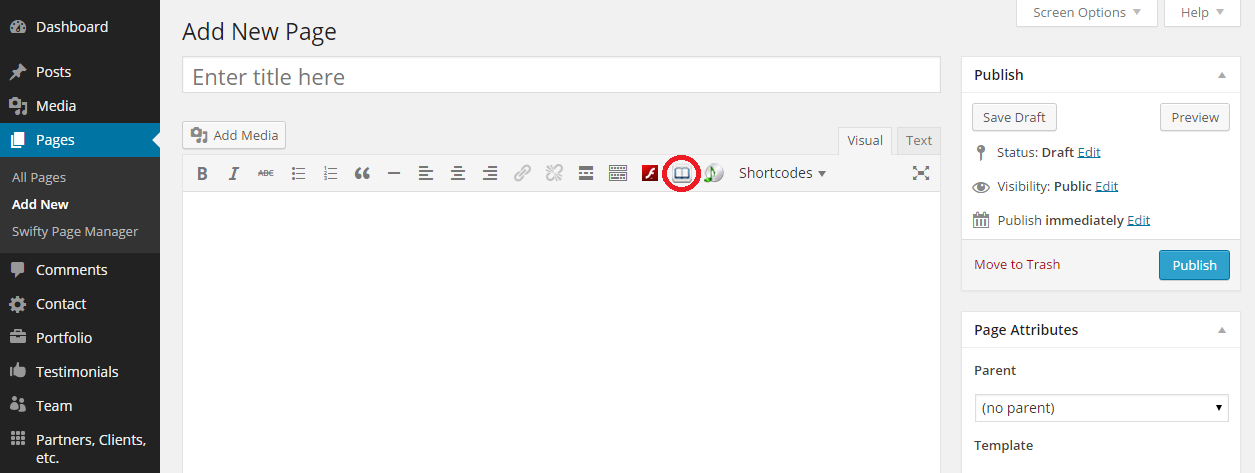GI-Catalog shortcode button on Pages/Posts marked with red circle