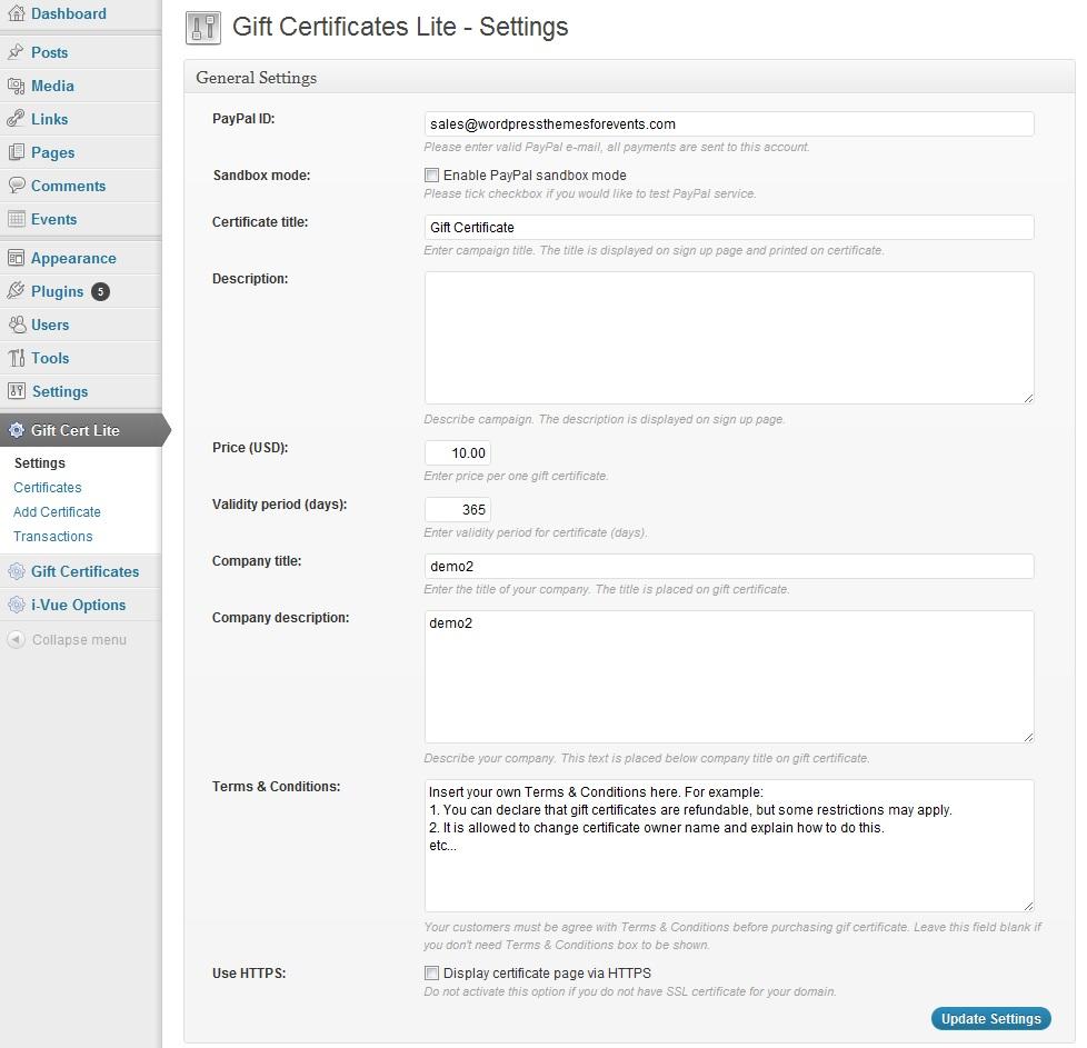 wp gift certificate lite wordpress plugins screenshots