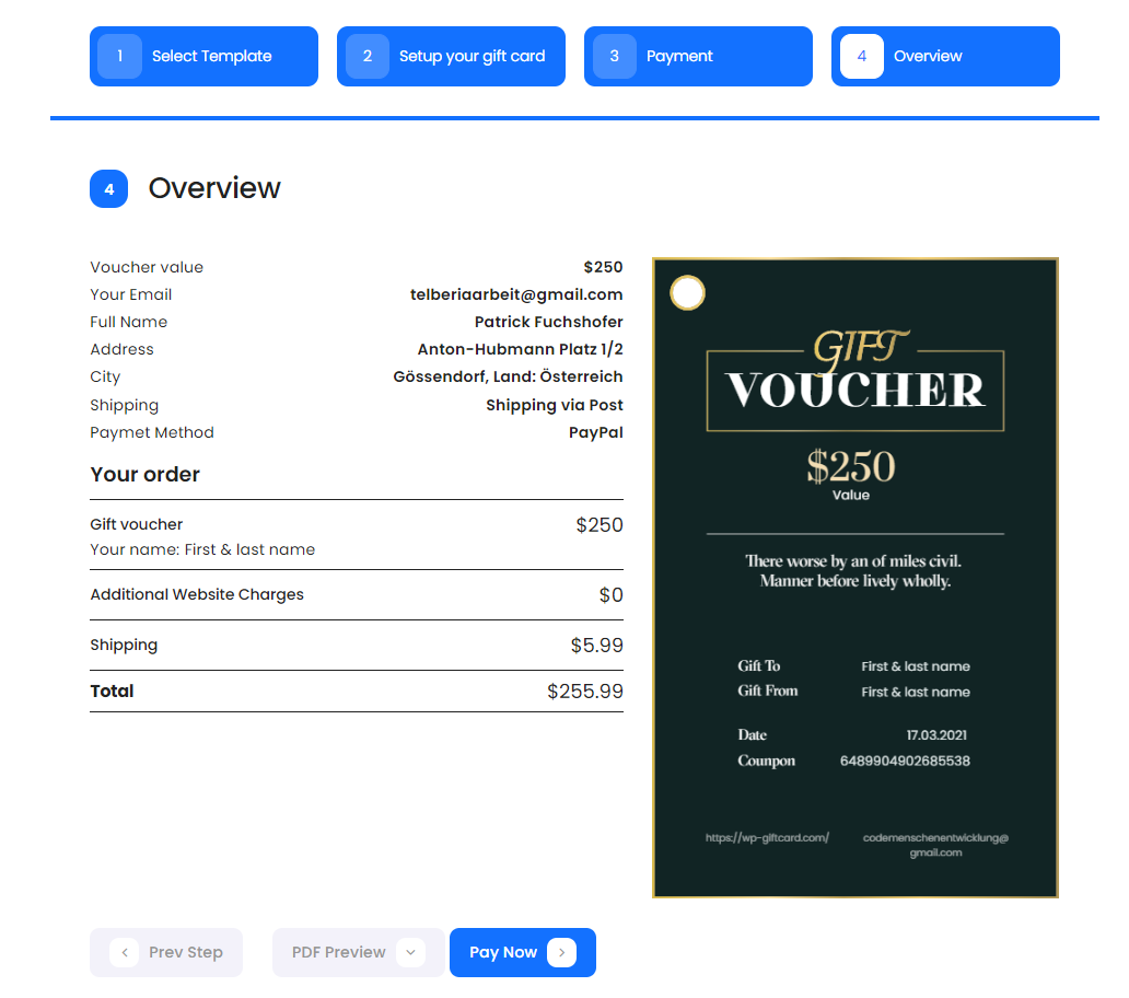 gift cards gift vouchers and packages woocommerce supported