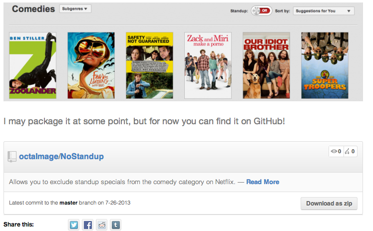 Example of the plugin in action on my blog post: http://json.sx/hide-stand-up-specials-on-netflix/