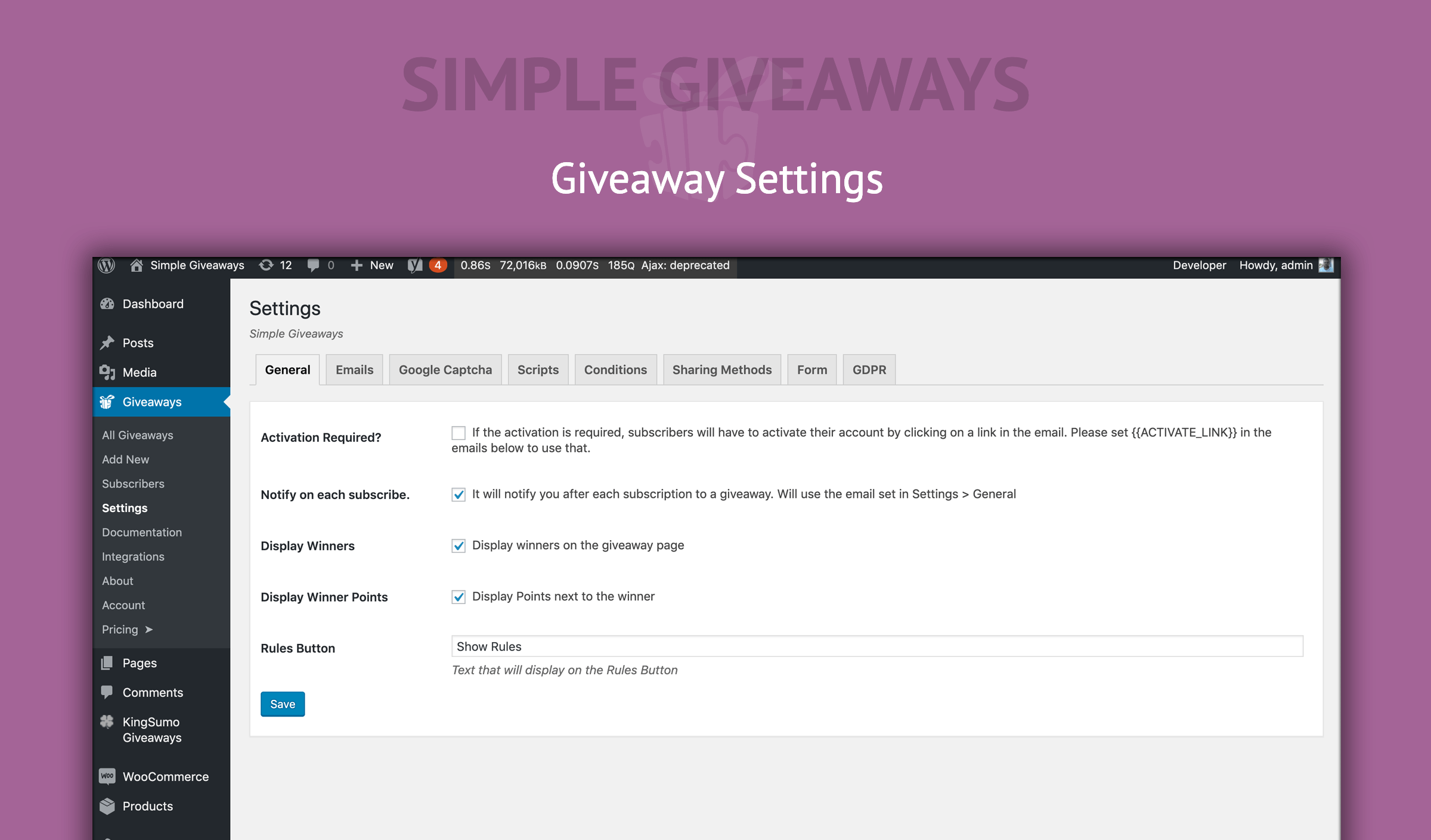 Simple Giveaways – WordPress plugin | WordPress org