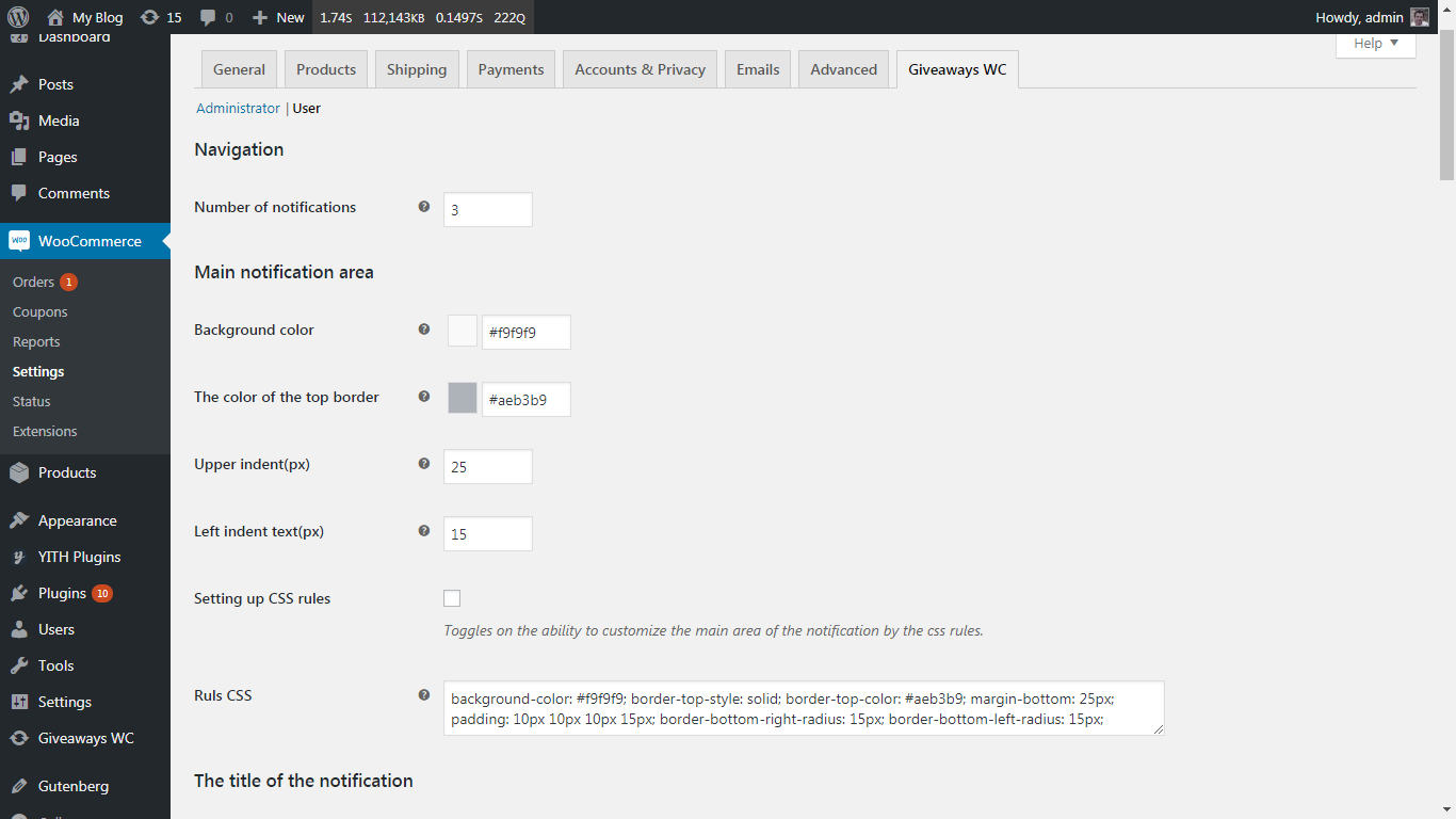 Plugin settings page(WooCommerce>Settings>Giveaways WC)