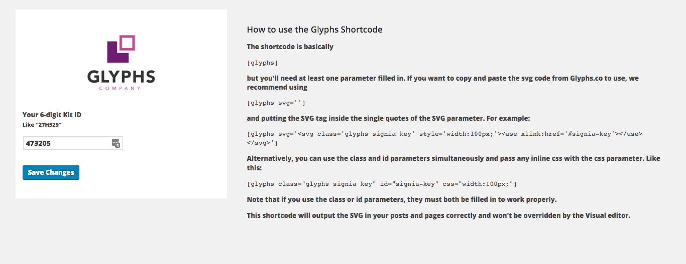Screenshot of the Glyphs.co settings page and instructions on how to use the shortcodes.
