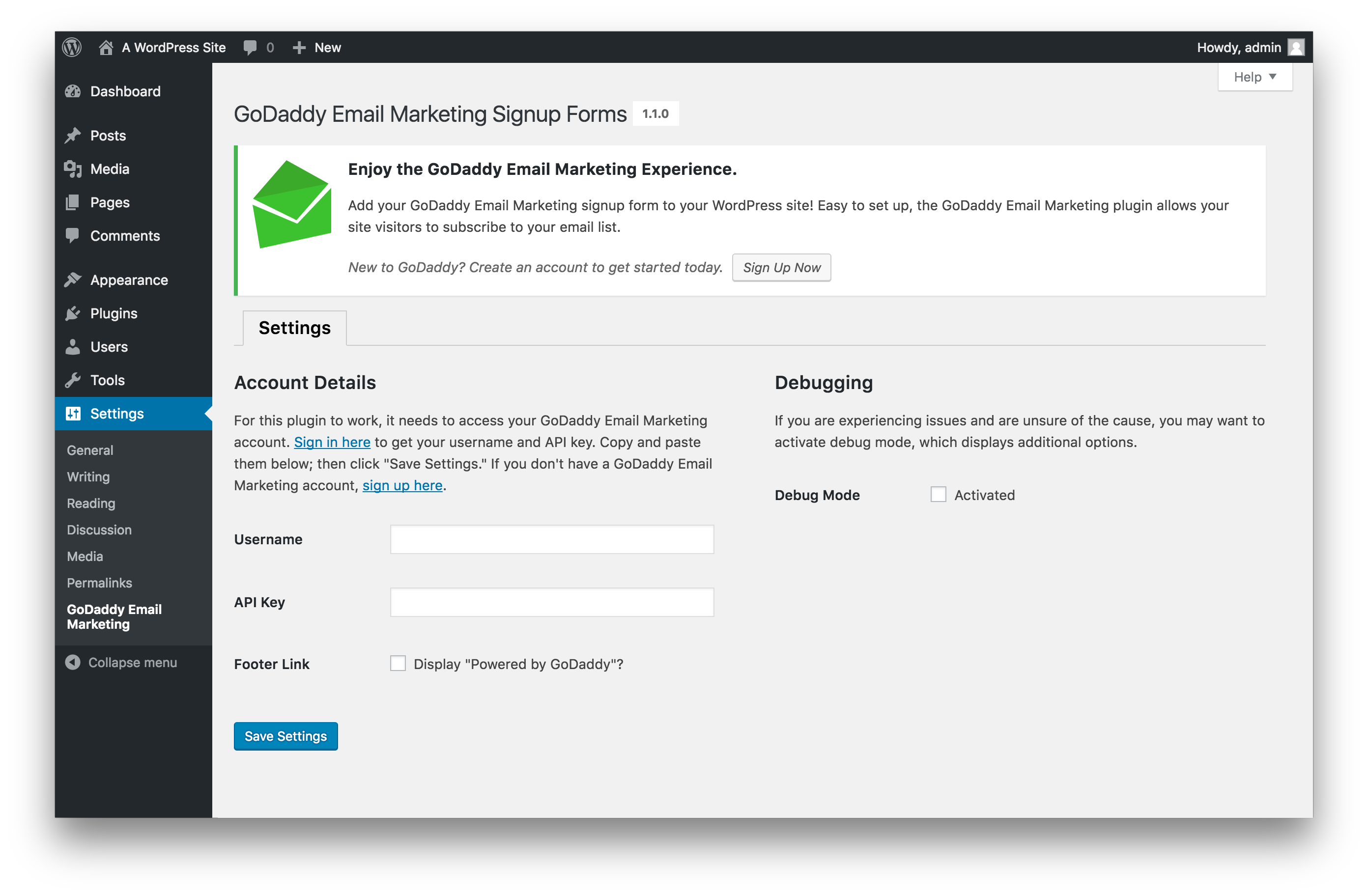 GoDaddy Email Marketing — WordPress Plugins