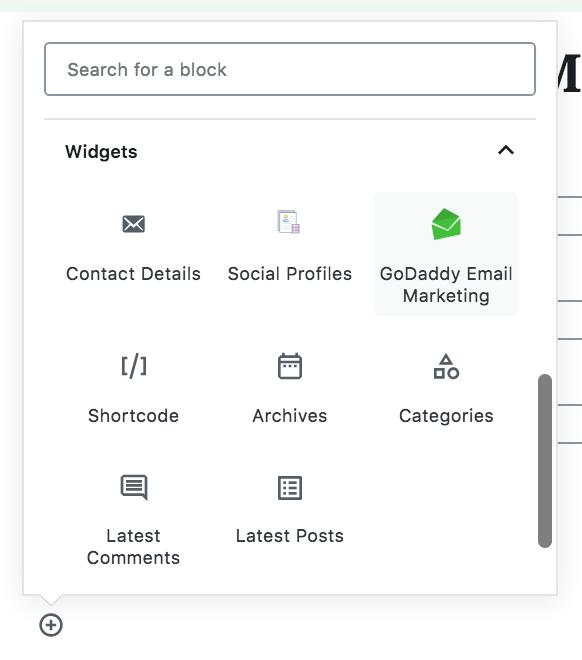 GoDaddy Email Marketing widget block.