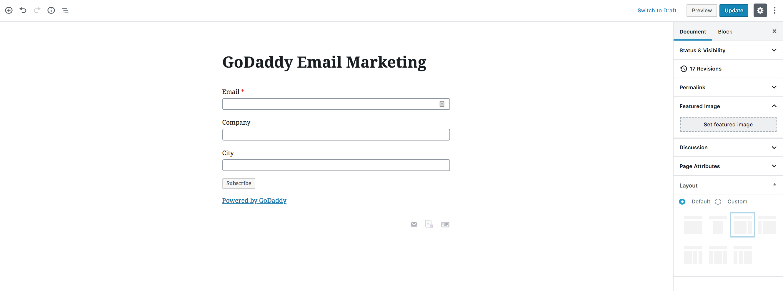 GoDaddy Email Marketing widget preview, in the block editor.