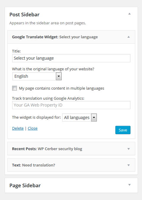 Google Translate Widget on the Widgets page in dashboard.