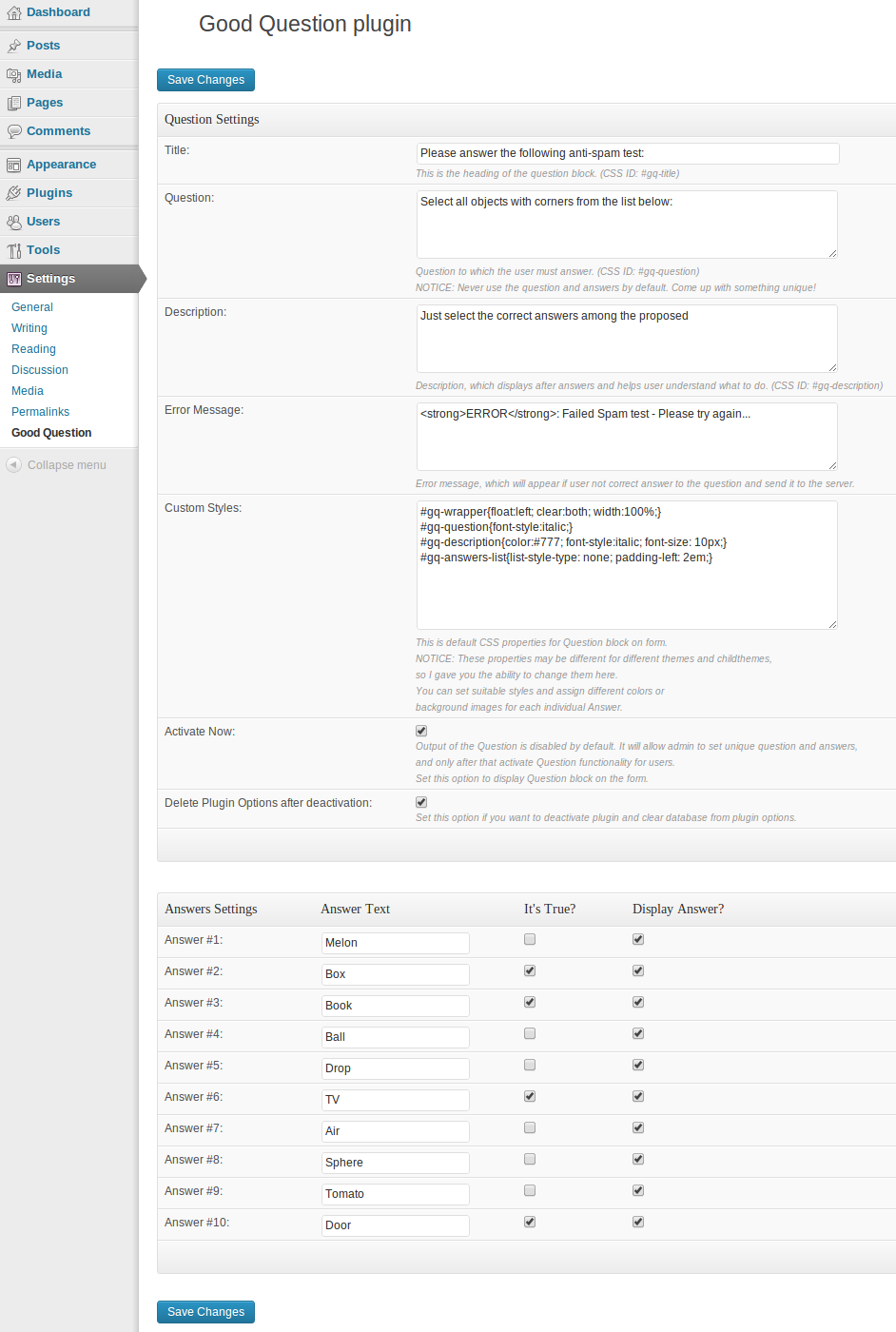 Plugin's settings page.