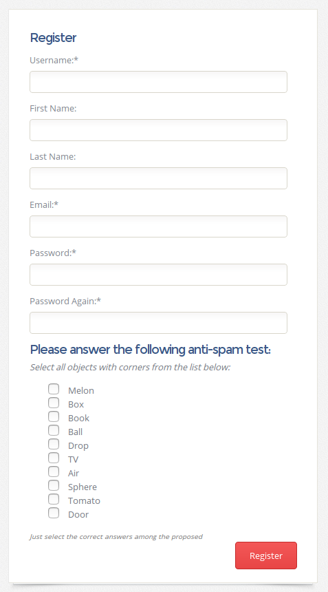 Question block on the custom registration page. Displays list of simple text answers.