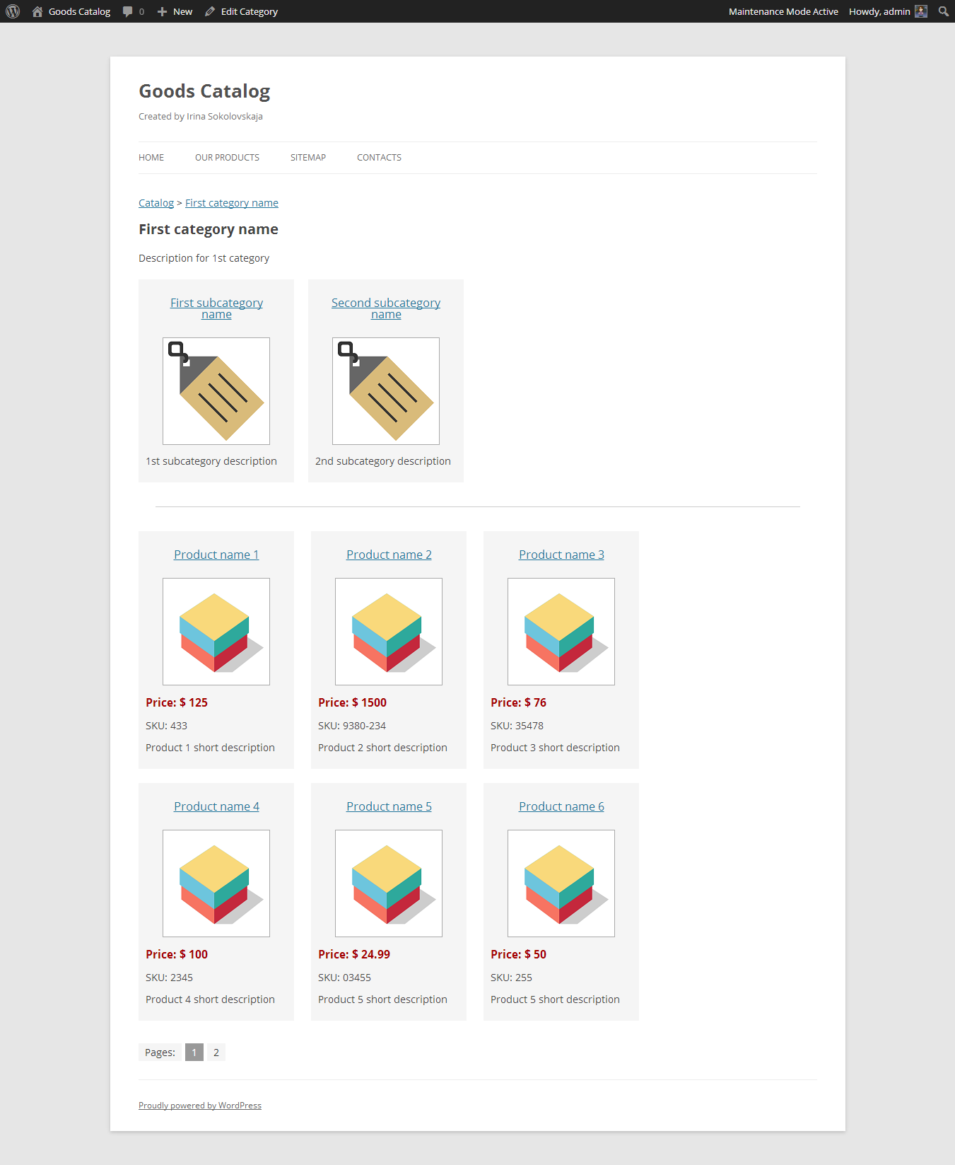 Main page of catalog  Page of category with subcategories and products. Goods Catalog   WordPress Plugins