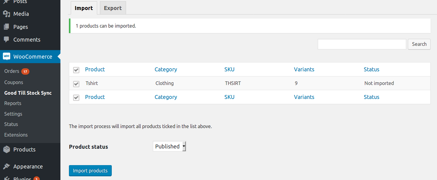 Goodtill to Woocommerce product import interface.