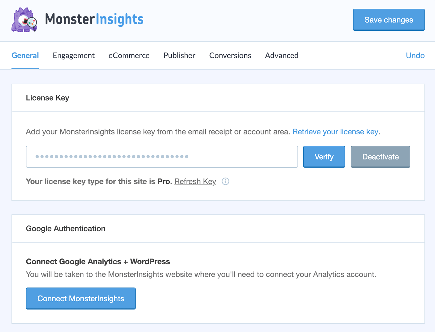 Google Analytics by Yoast - Advanced tab