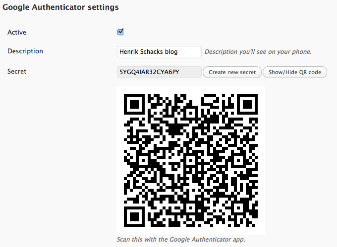 QR code on the Profile and Personal options page.