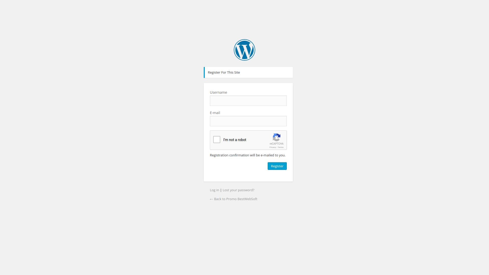 Registration form with Google Captcha (reCAPTCHA).
