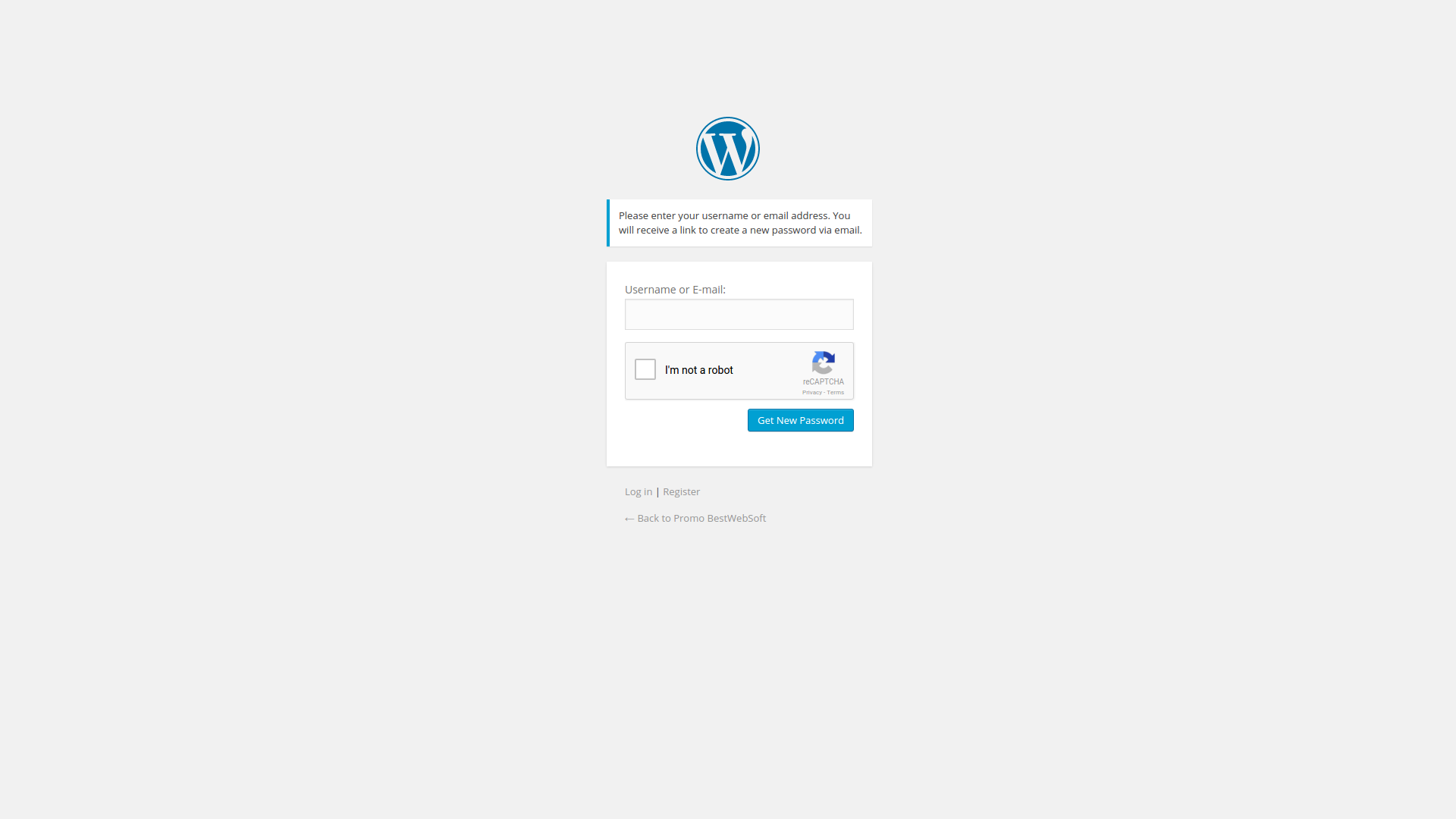 Lost password form with reCaptcha.