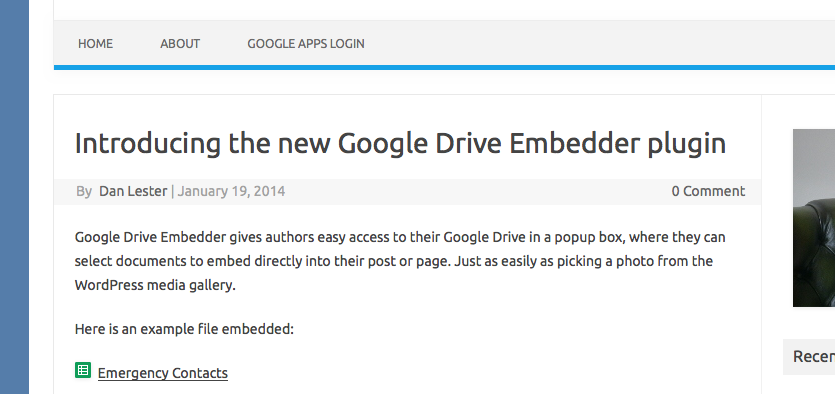google drive embedder | wordpress