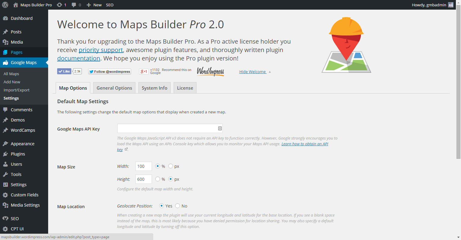 "<p><strong>Settings Panel</strong> - The Maps Builder Pro Settings page. Maps Builder Basic includes these options, but not the ""License"" tab.</p>"