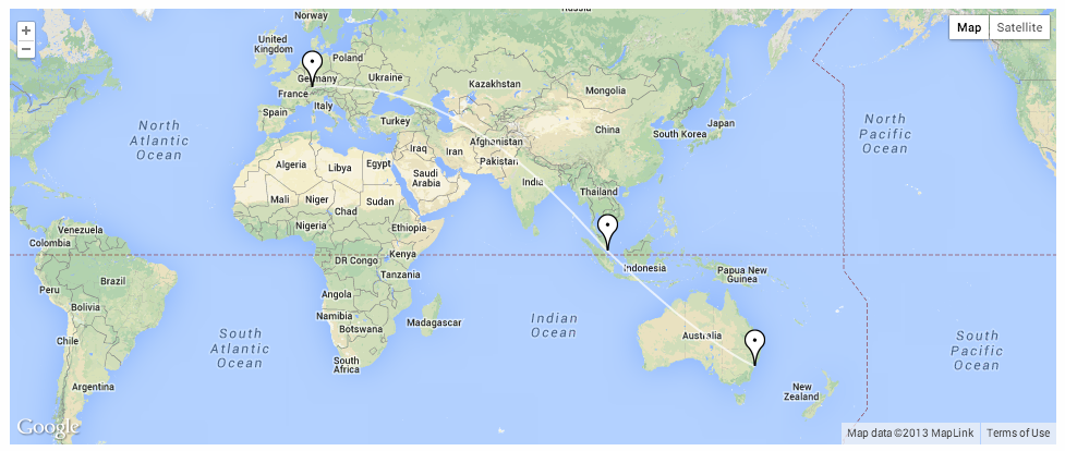 sample output of google maps travel route