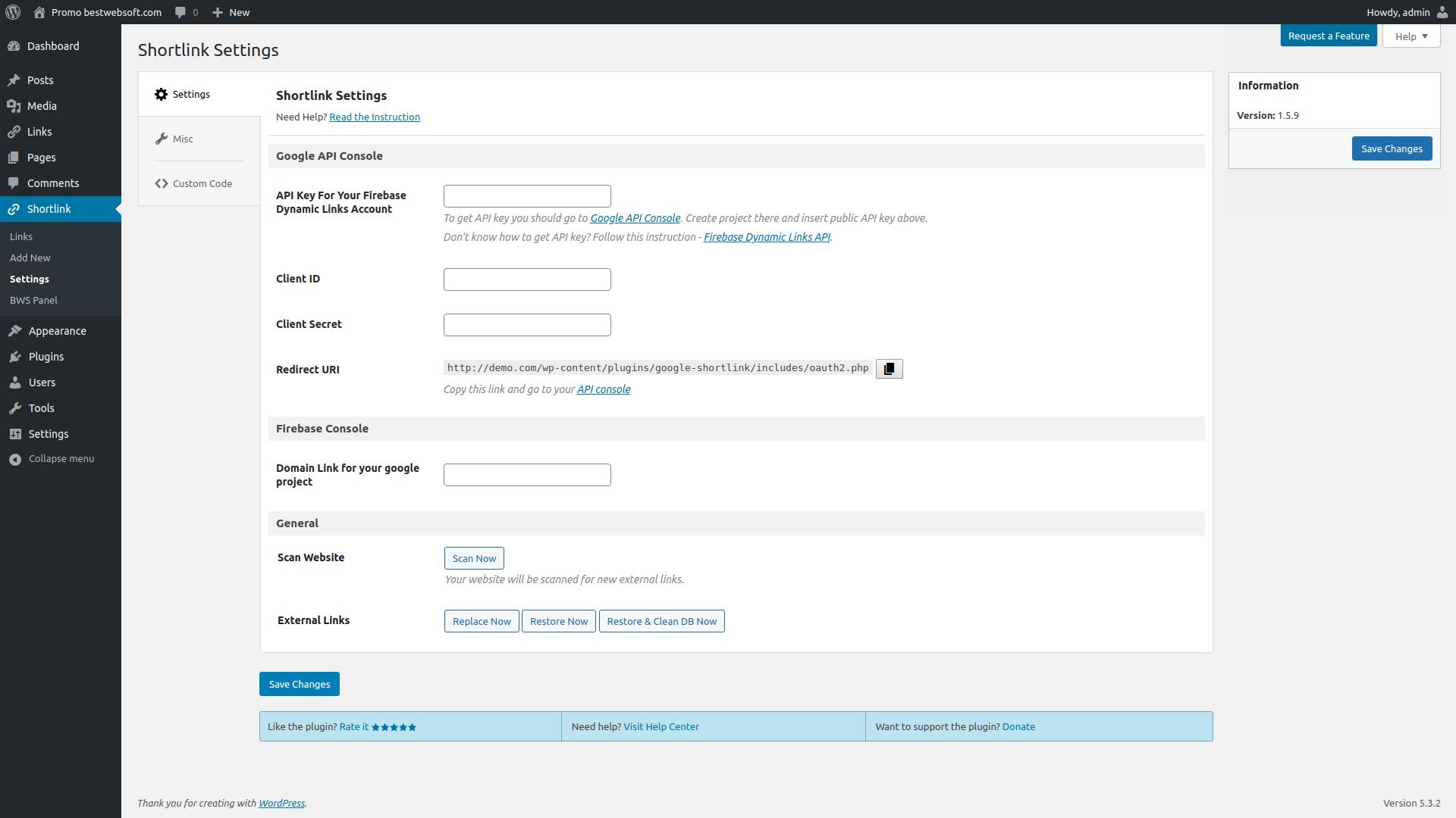 Plugin settings page in WordPress admin panel.
