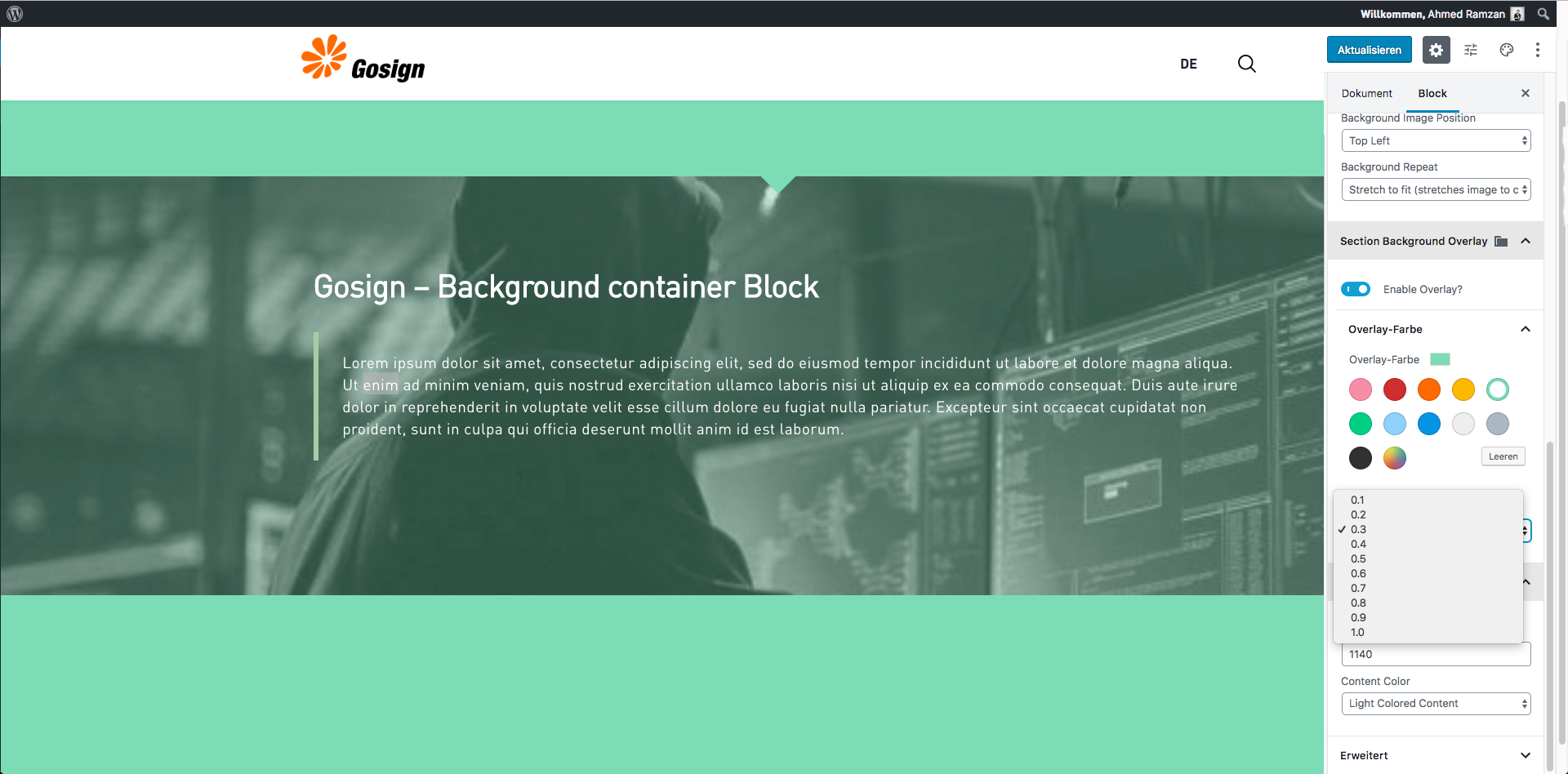 Gosign –后台容器块