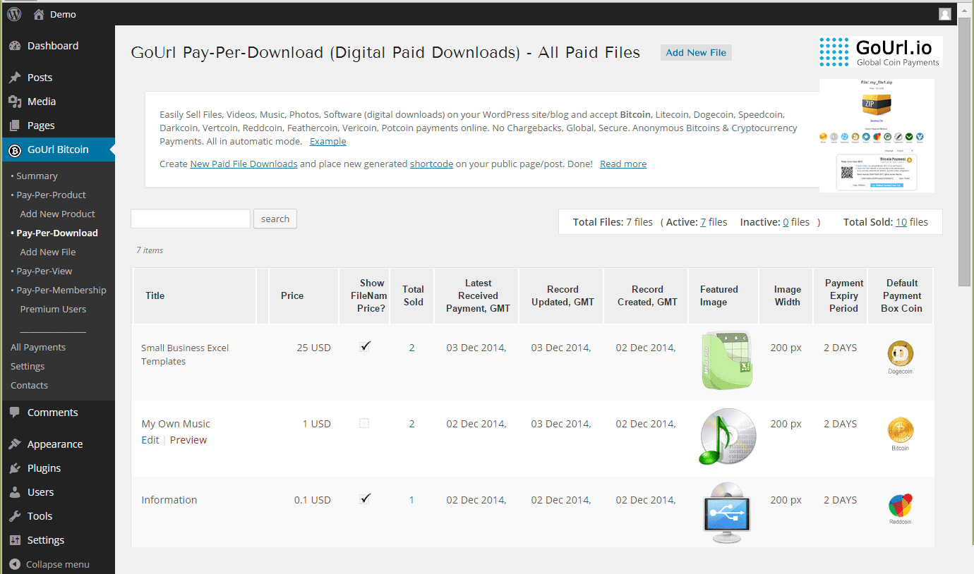 Pay-Per-Download Page - list of all paid files