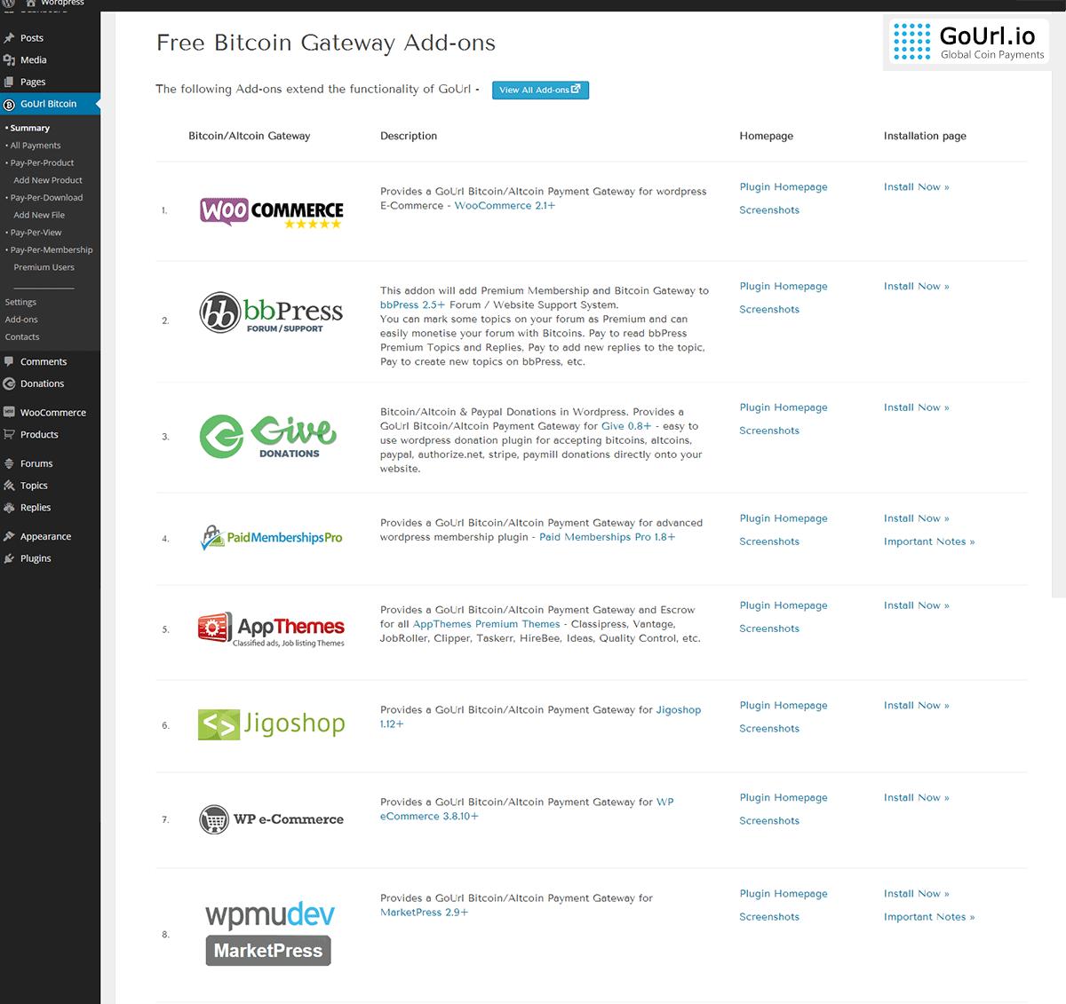 Free Bitcoin Gateway Addons