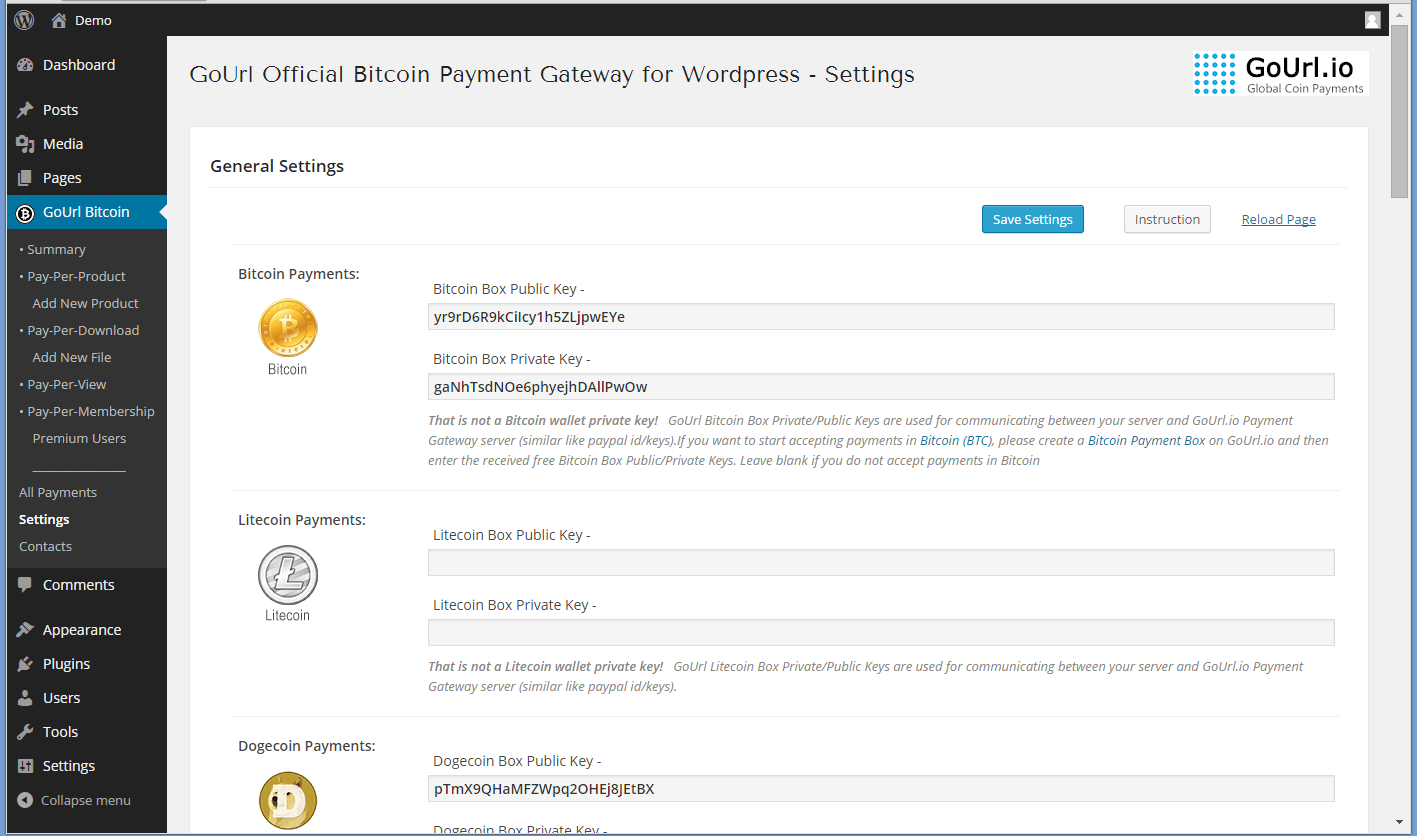 Plugin General Settings Page - place free Private/Public keys from Gourl.io and activate bitcoin/cryptocoin payments
