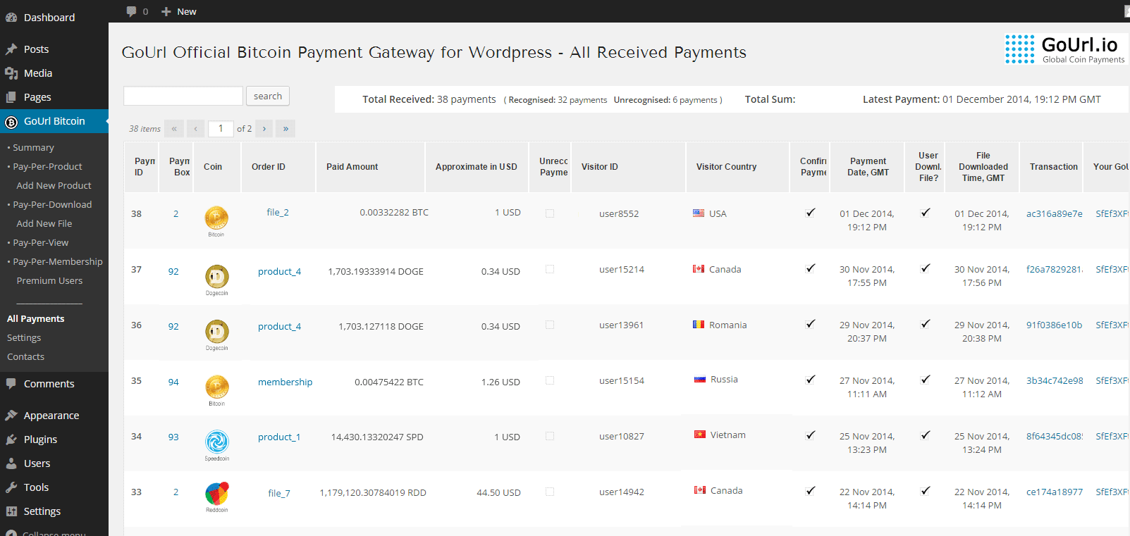 All Payments Page - list of all received payments