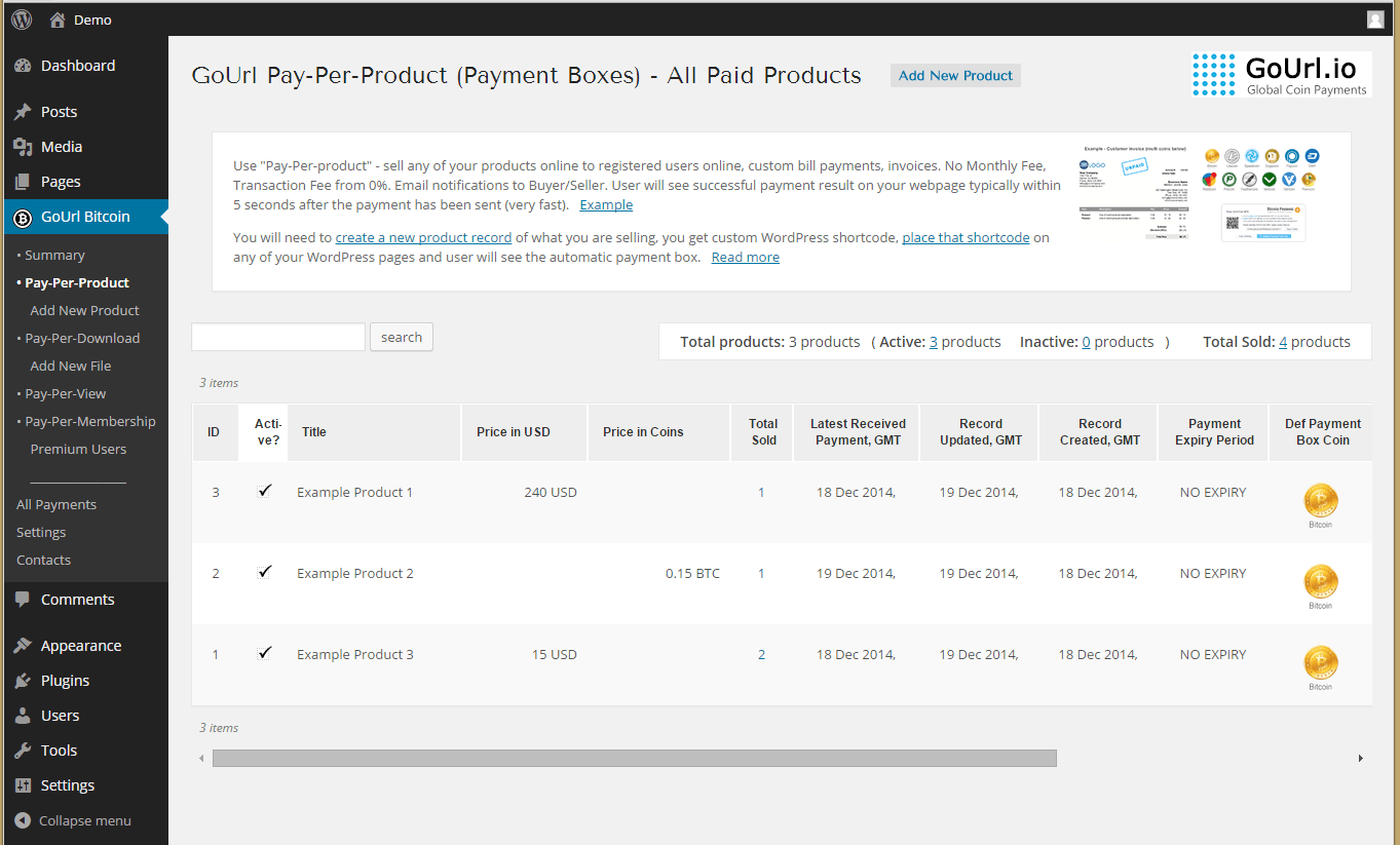 Pay-Per-Product Page - list of all paid payments